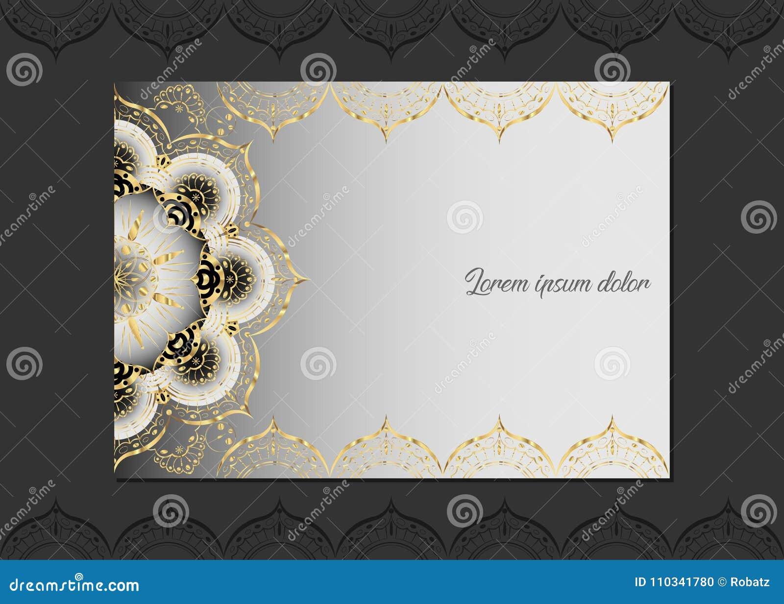 Tarjeta De Felicitación De Oro Del Vintage En Un Fondo Blanco ...