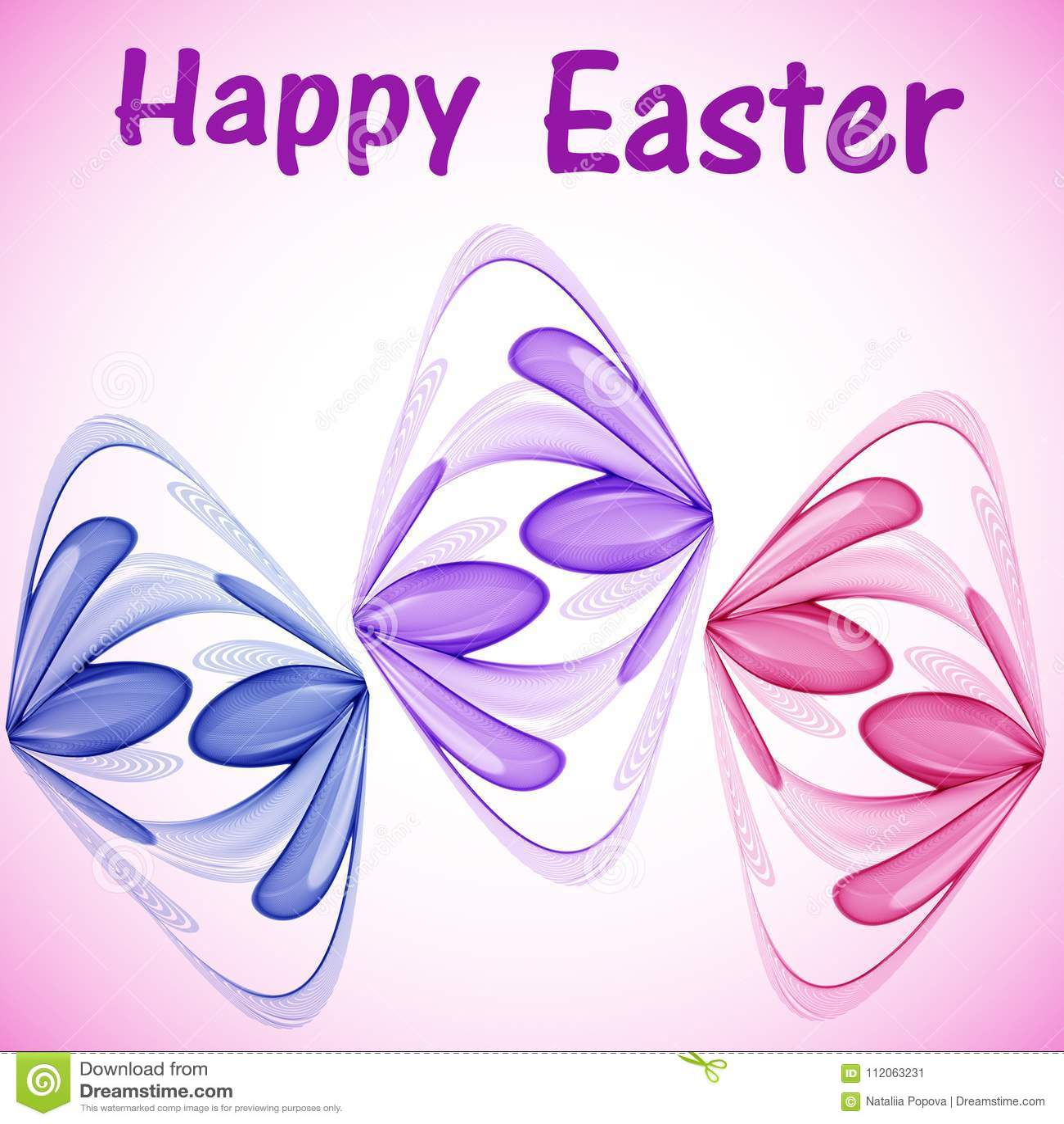 Tarjeta de felicitación para Pascua con los huevos de Pascua abstractos de las flores abstractas