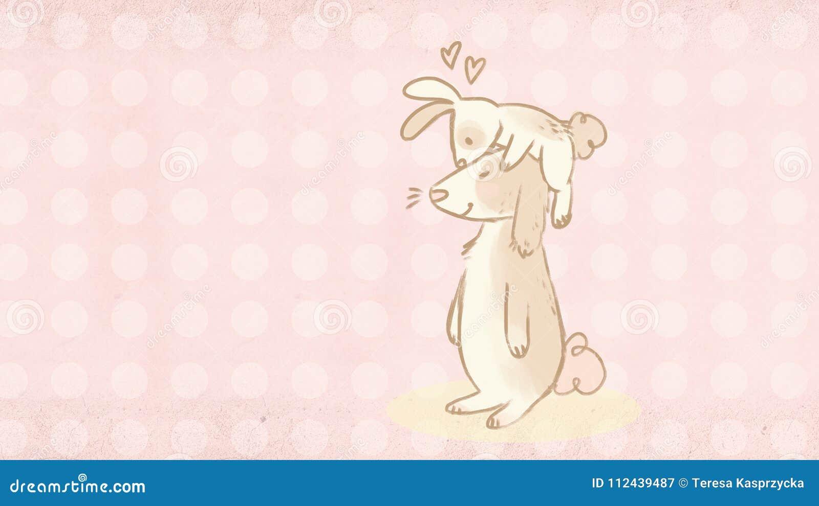 Tarjeta de felicitación de Pascua con el ejemplo lindo de dos conejitos