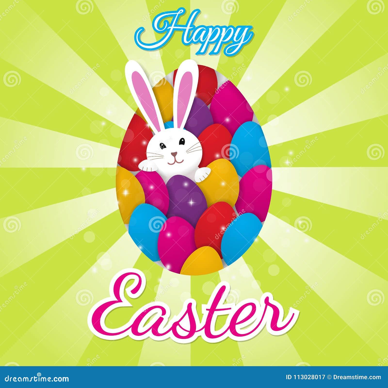 Tarjeta de felicitación de Pascua con huevos coloridos y un conejito del conejito