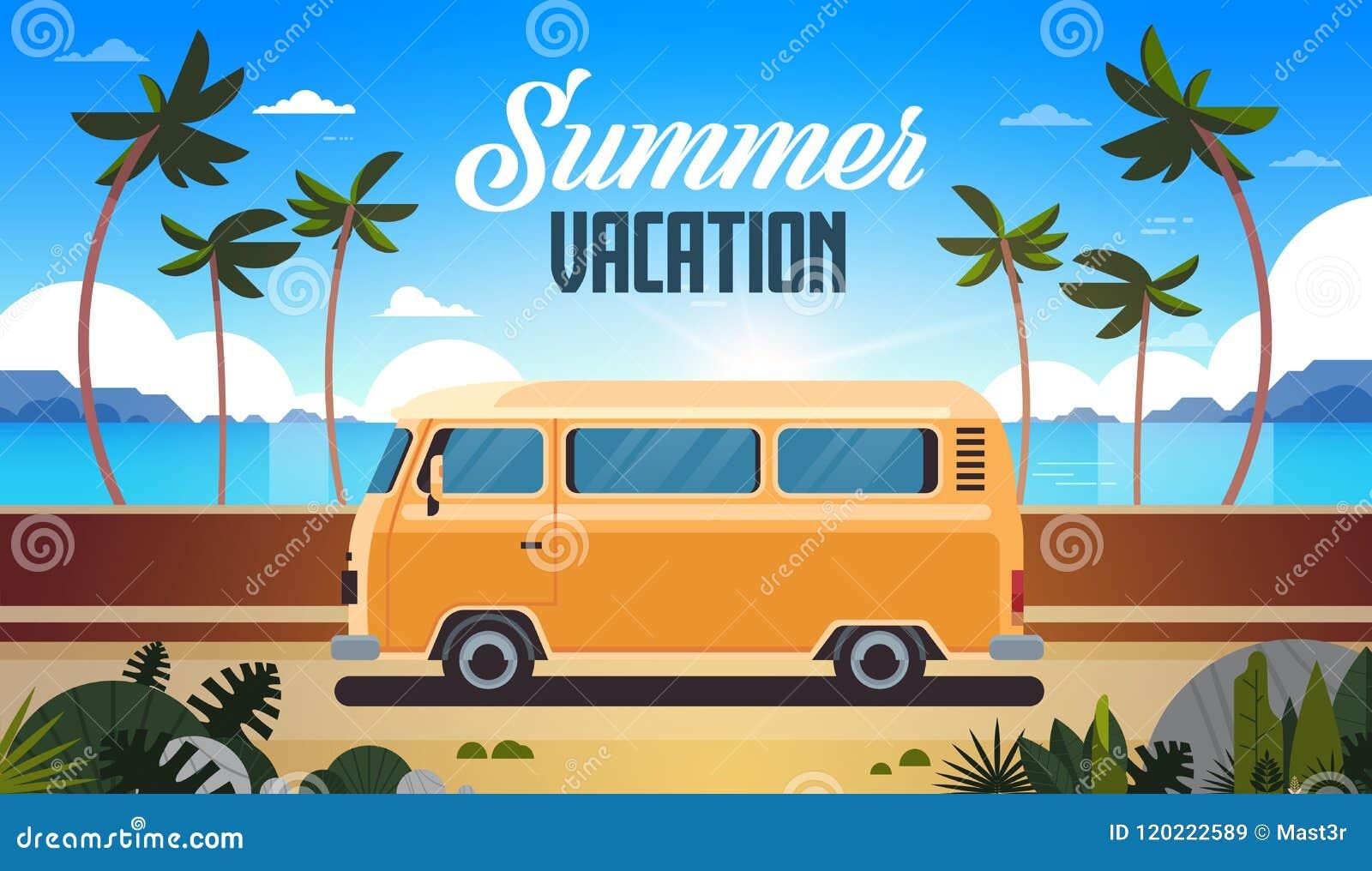 Tarjeta de felicitación retra del vintage de la playa tropical de la salida del sol del autobús de la resaca de las vacaciones de