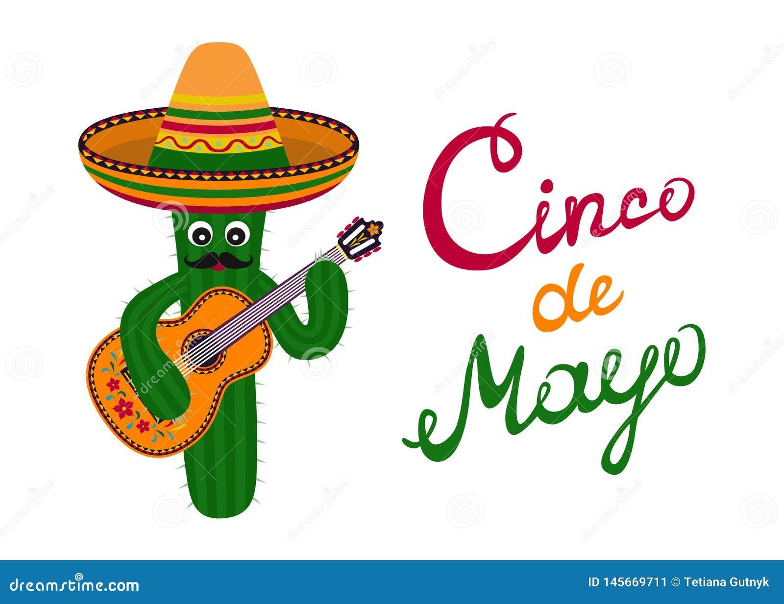 Tarjeta de felicitaci?n de Cinco de Mayo Cactus del artoon del ¡de Ð con el bigote en el sombrero que toca la guitarra