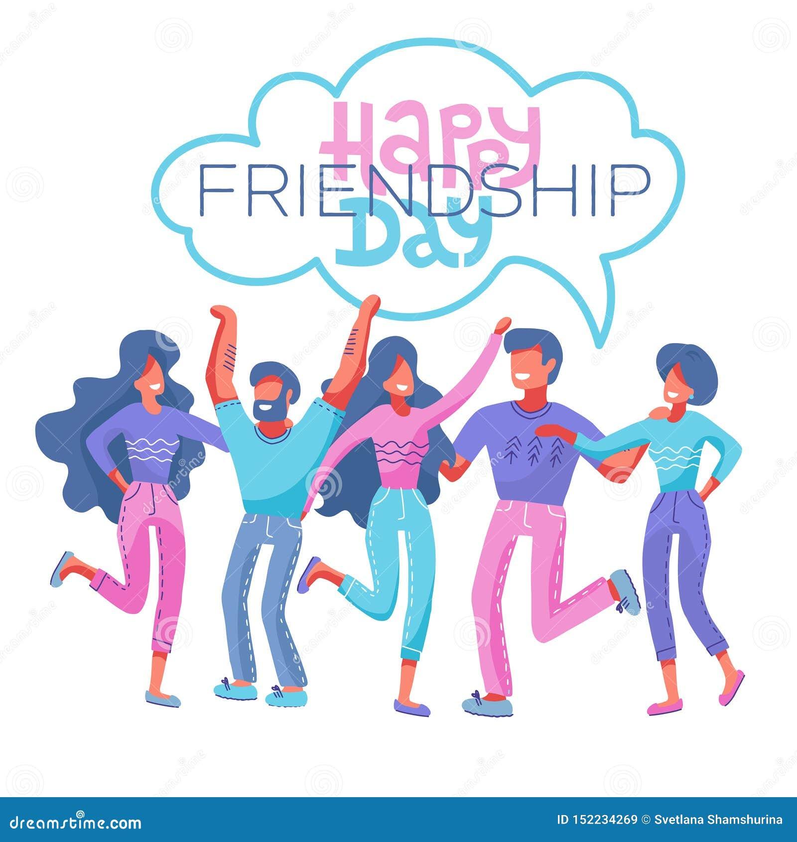 Tarjeta de felicitaci?n feliz del d?a de la amistad con el grupo de personas diverso del amigo que abraza junto para la celebraci