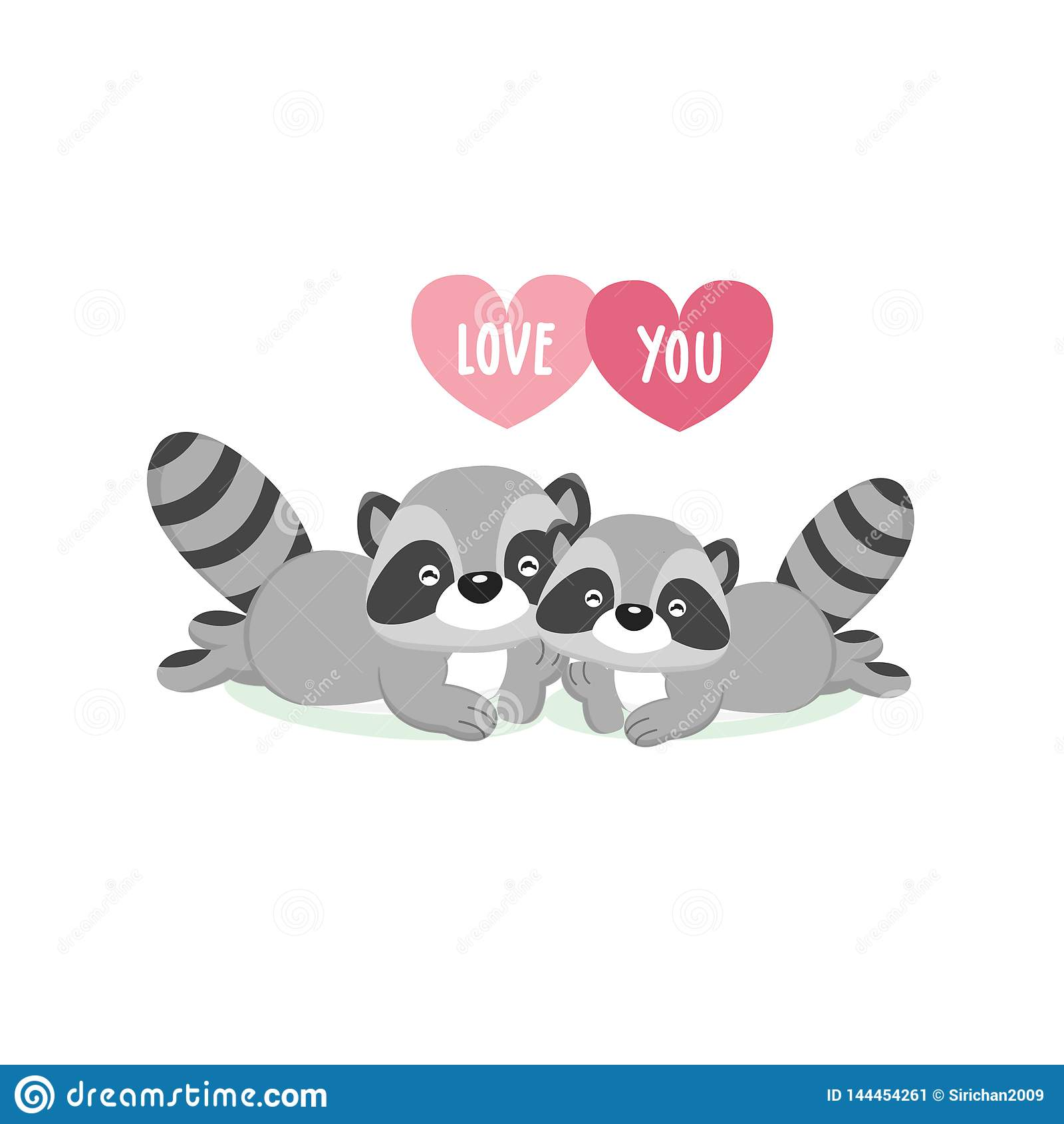 Tarjeta de felicitaci?n feliz del d?a de tarjeta del d?a de San Valent?n con los mapaches lindos de los pares en amor