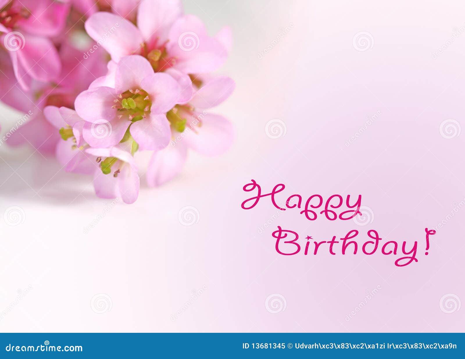 Felicitaciones De Cumpleaños Con Flores: Tarjeta De Felicitaciones Del Feliz Cumpleaños Con Las