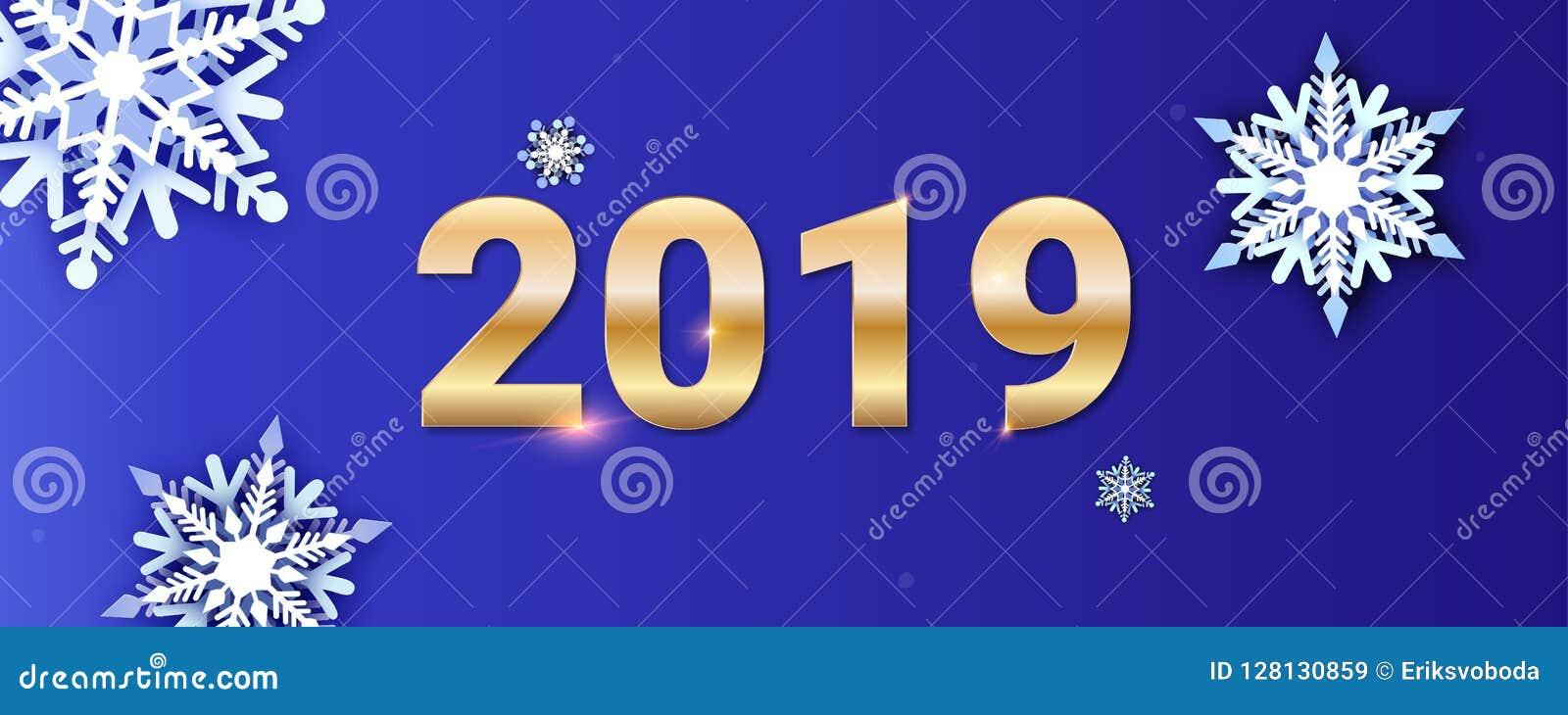 Tarjeta de felicitaciones de la Feliz Año Nuevo Números de oro 2019 en el fondo de la caída de la nieve Corte acodado multi volum