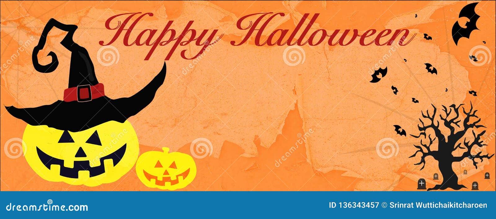 Tarjeta de Halloween con el fantasma y el árbol del gato negro de la web de araña del palo