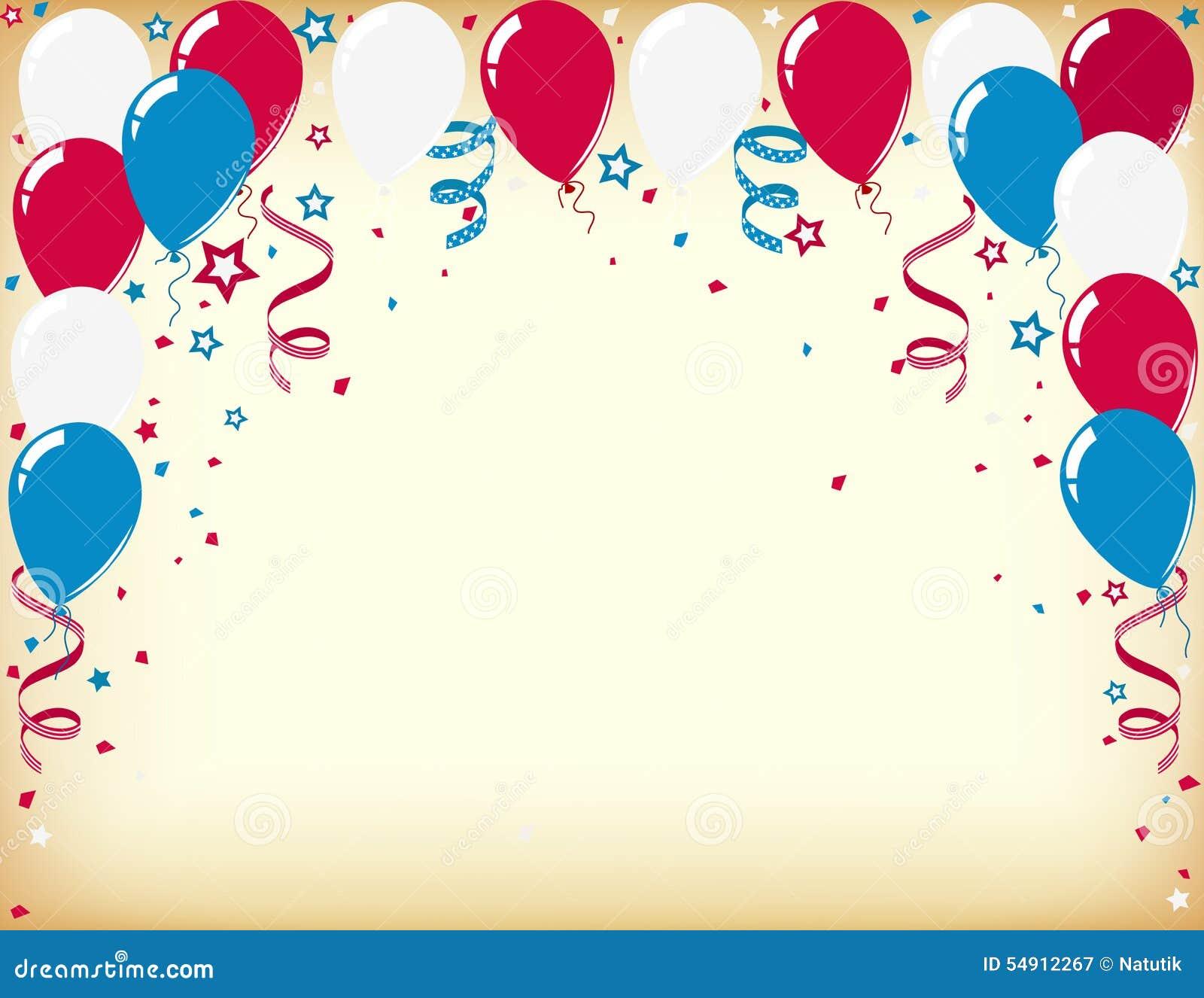 Tarjeta De La Celebración Del Día De La Independencia Con Los Globos ... f9eae489721