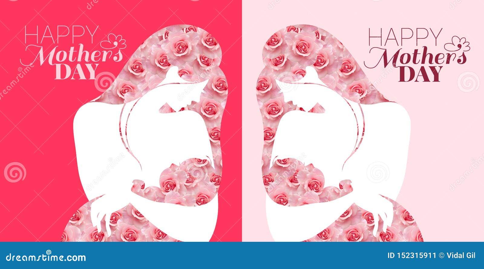 Tarjeta de la celebración del día de madres Madre y bebé en el fondo rosado