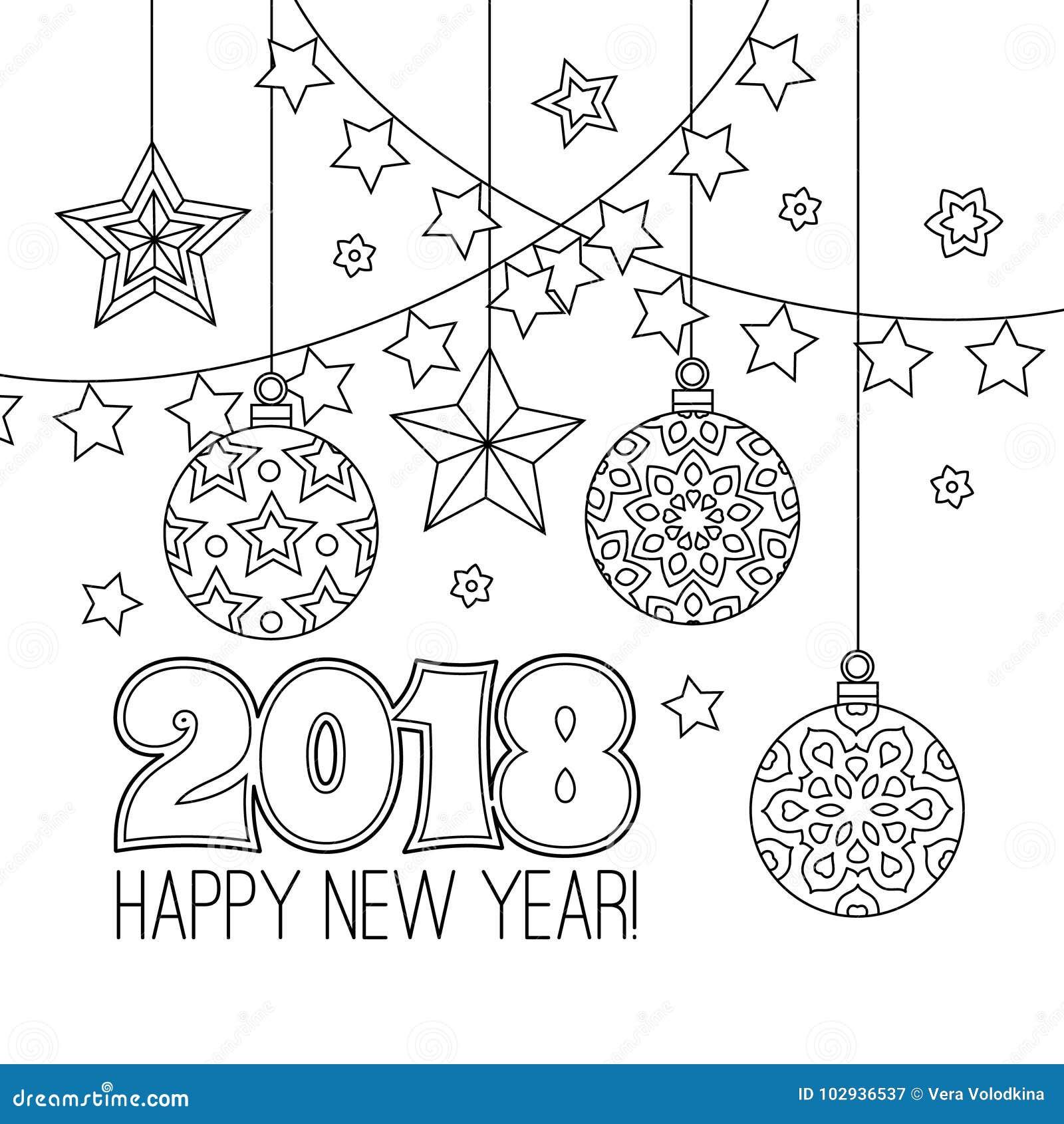 Tarjeta De La Enhorabuena Del Año Nuevo Con Los Números 2018, Bolas ...