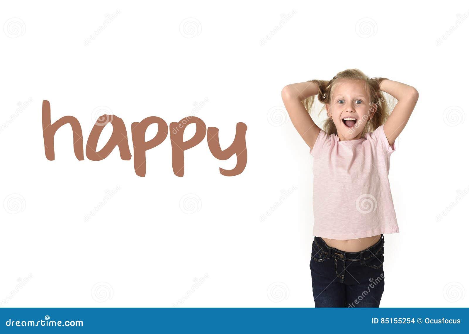 Tarjeta de la escuela del vocabulario del aprendizaje de idiomas ingleses del niño femenino feliz hermoso joven emocionado