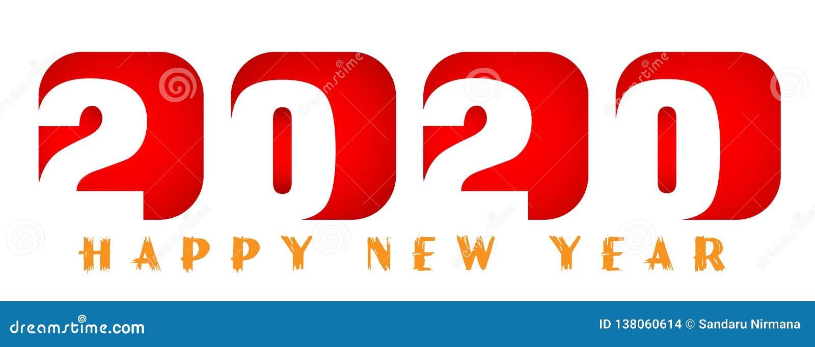 Tarjeta de la Feliz Año Nuevo 2020 en diseño de saludo rojo del texto en coloreado en el fondo blanco