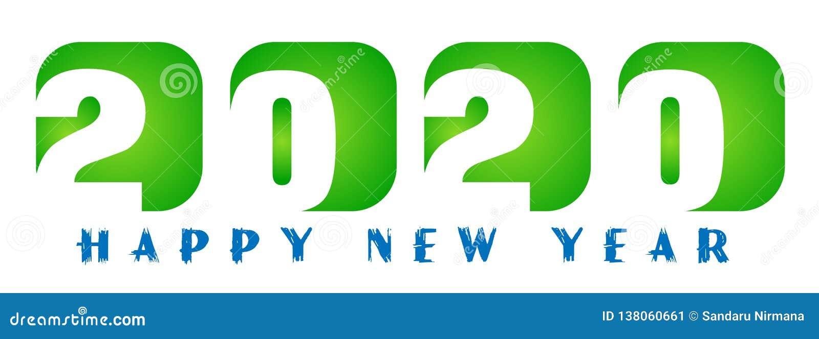 Tarjeta de la Feliz Año Nuevo 2020 en diseño de saludo verde del texto en coloreado en el fondo blanco