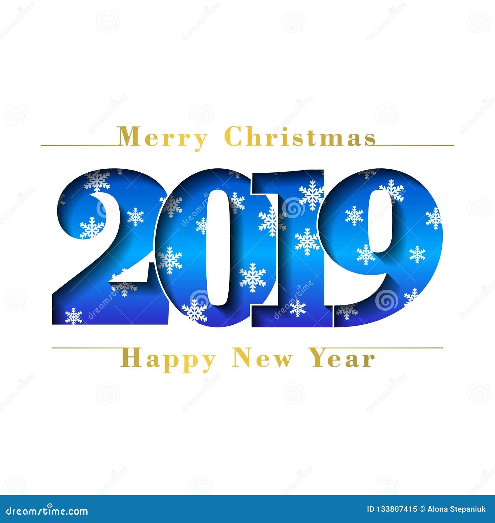 Tarjeta de la Feliz Navidad de la Feliz Año Nuevo Número azul 2019 con los copos de nieve, fondo blanco aislado Textura del oro b
