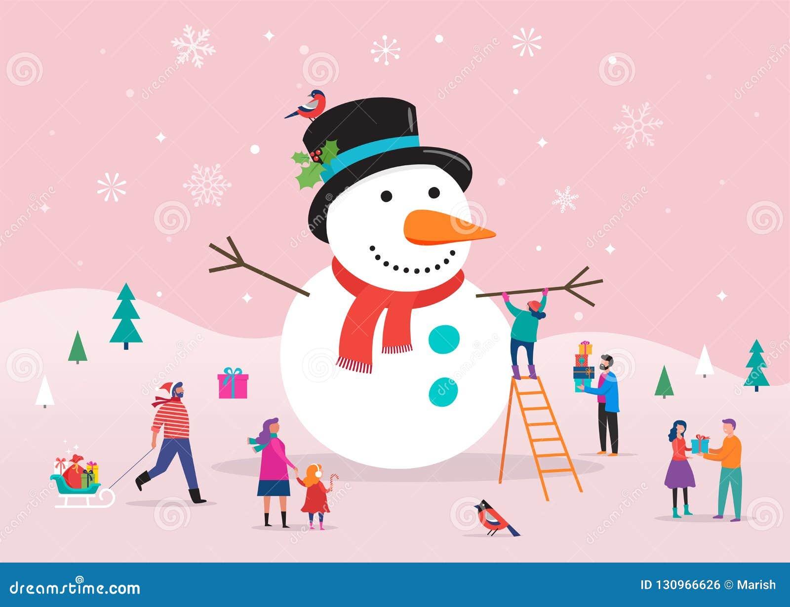 Tarjeta de la Feliz Navidad, fondo, bannner con el muñeco de nieve enorme y la pequeña gente, hombres jovenes y mujeres, familias