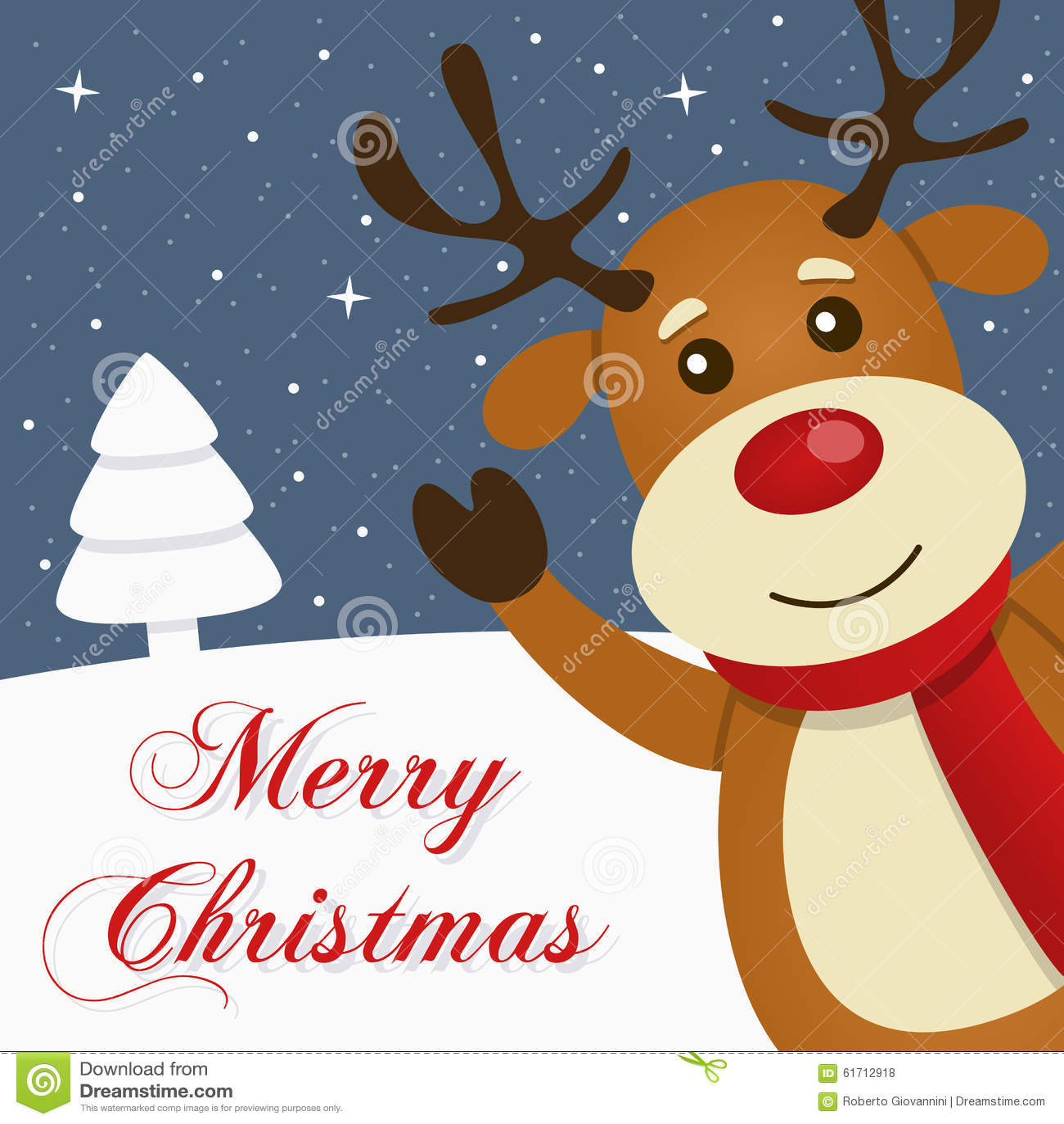 Tarjeta de la Feliz Navidad Nevado del reno