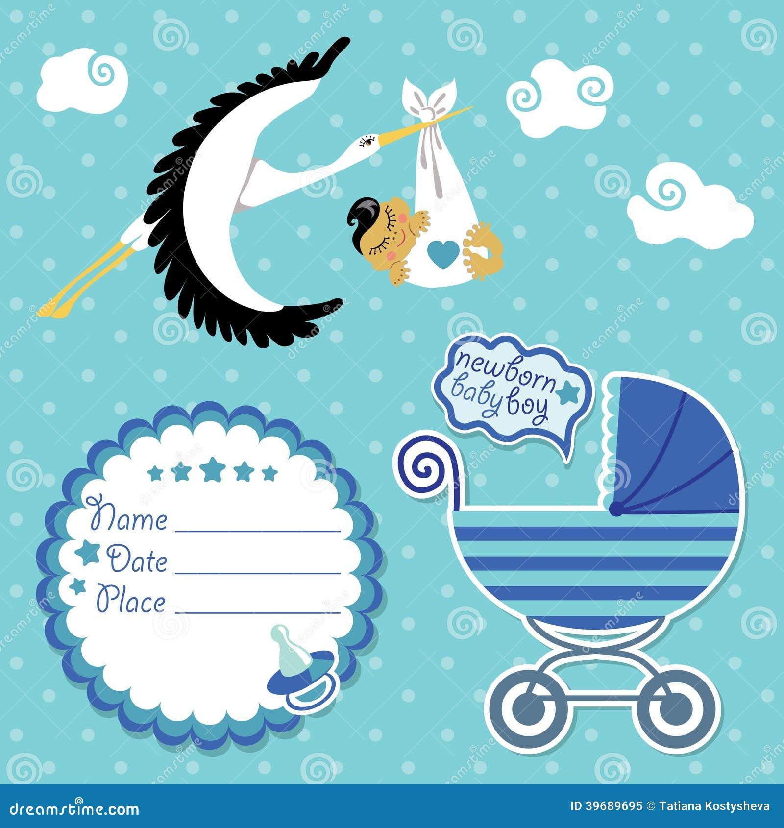 Tarjeta de la fiesta de bienvenida al bebé, invitación, libro de recuerdos con la cigüeña y muchacho asiático