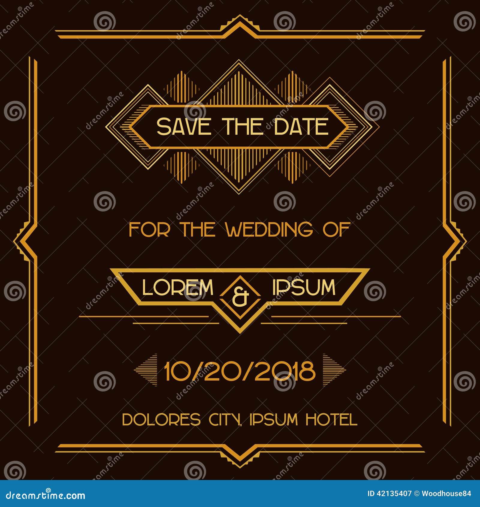 Invitaciones de boda del art déco