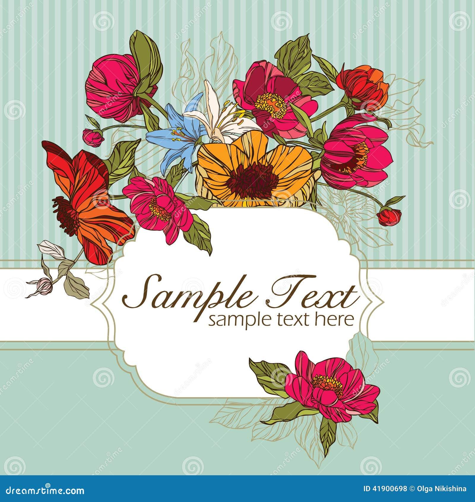 Tarjeta de la invitación con las flores