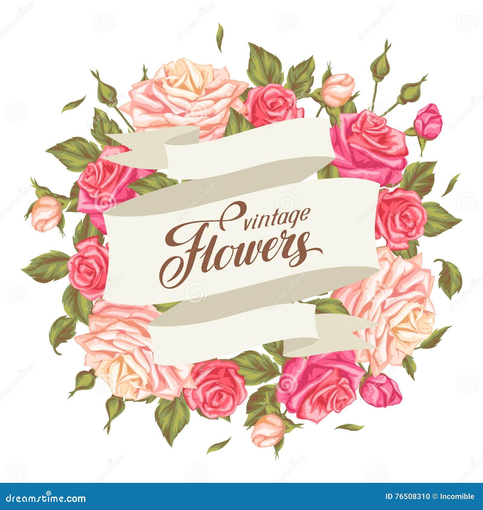 Invitaci�n De Boda De Dise�o Carteles Taiwan Tarjeta: Tarjeta De La Invitación Con Las Rosas Del Vintage Flores