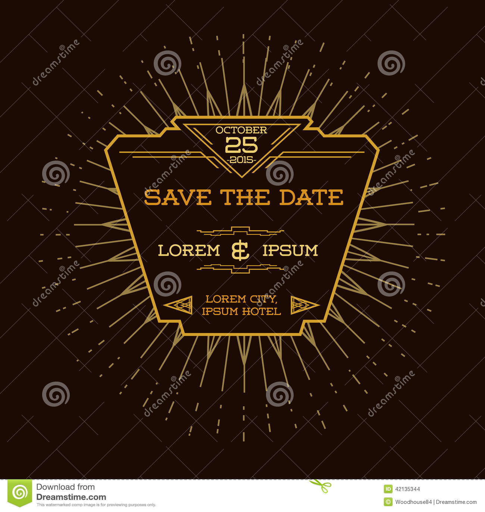 Tarjeta de la invitación de la boda - Art Deco Style
