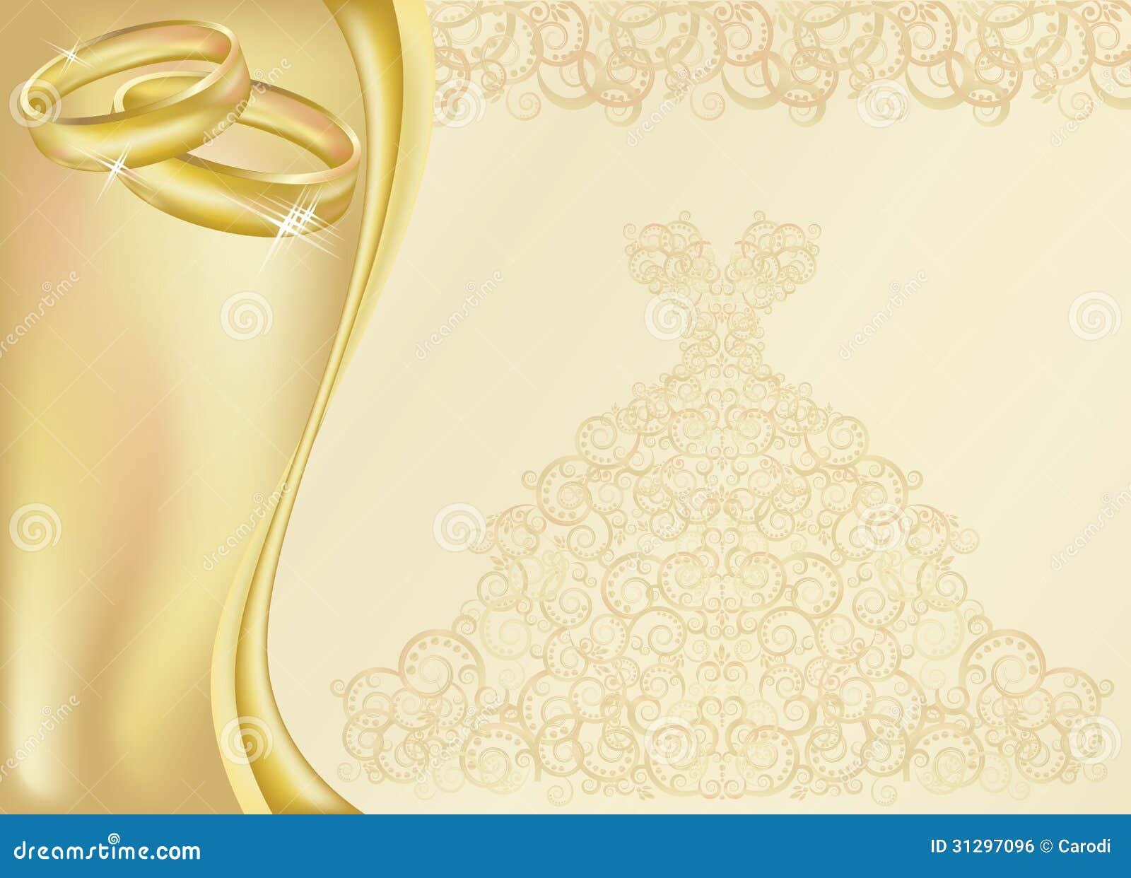 Tarjeta De La Invitaci 243 N De La Boda Con Dos Anillos De Oro