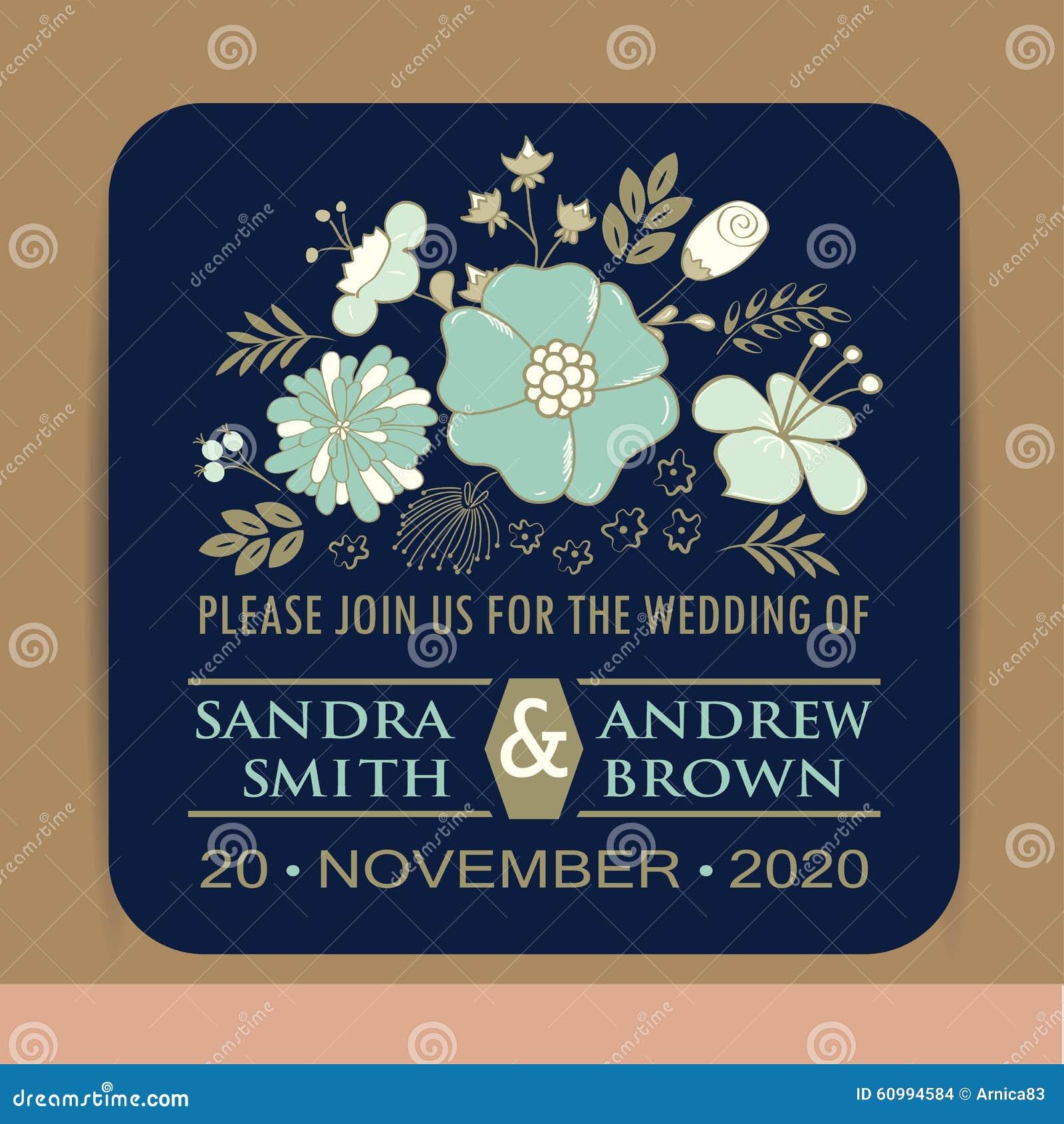 Tarjeta de la invitación de la boda del vintage