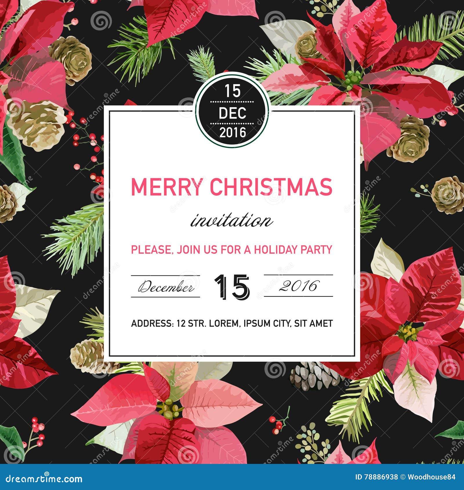 Tarjeta De La Invitación De La Navidad De La Poinsetia Del