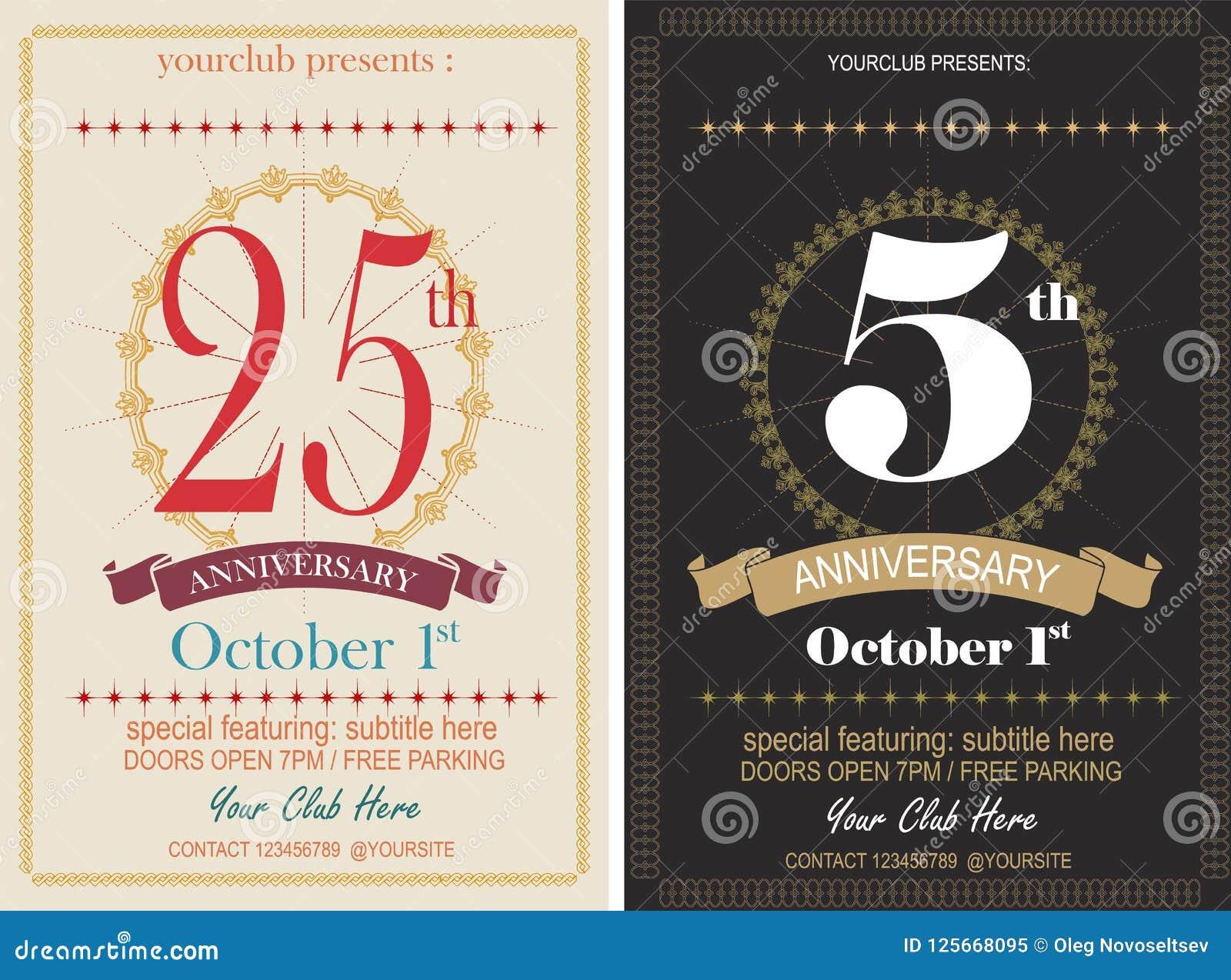 Tarjeta De La Invitación Del Aniversario O Maqueta Del