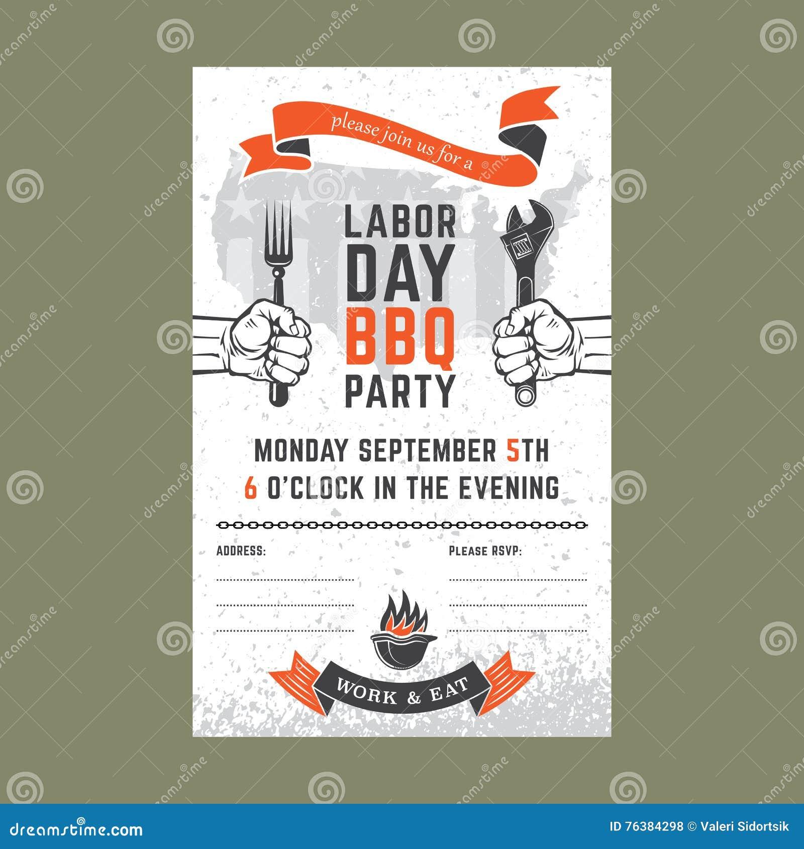 Tarjeta De La Invitación Del Bbq Del Día Del Trabajo