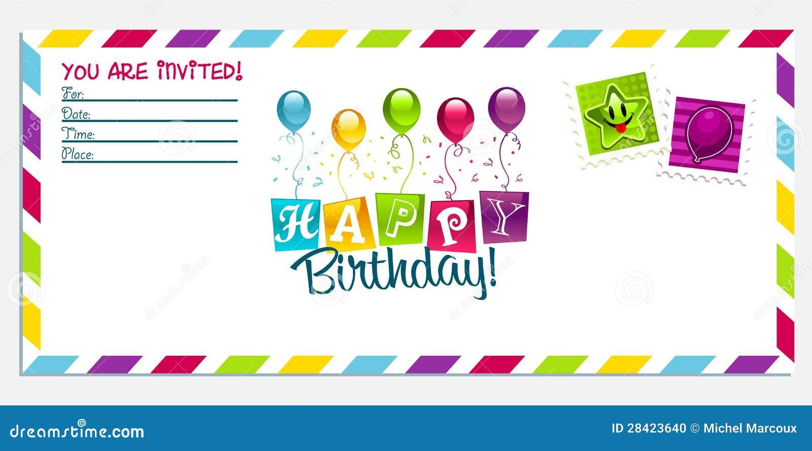 Tarjeta De La Invitación Del Feliz Cumpleaños Ilustración