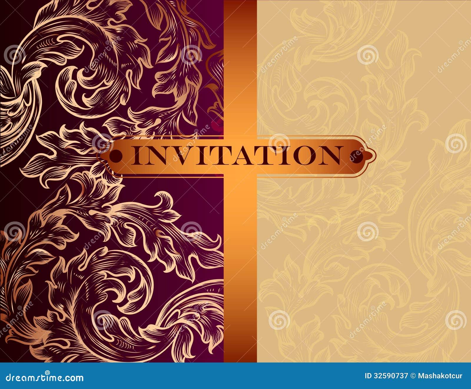 Tarjeta De La Invitación Del Vector Del Vintage Ilustración