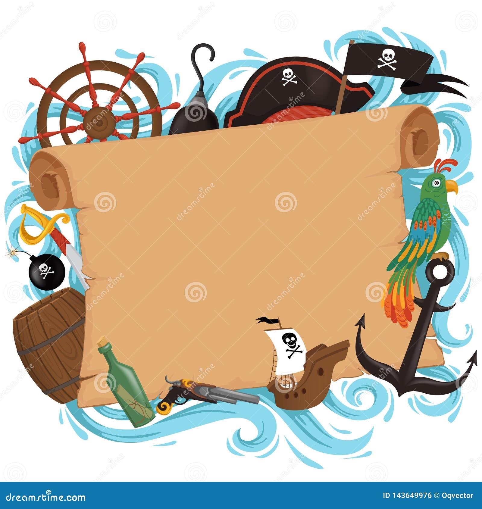 Tarjeta de la invitación en el estilo del pirata para un partido en un estilo de la historieta Día de fiesta del tema de los niño