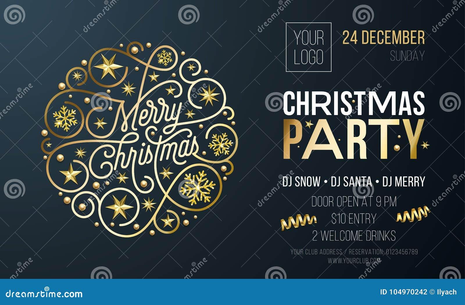 Tarjeta de la invitación de la fiesta de Navidad o cartel de la decoración de oro del Año Nuevo para la plantilla del diseño del