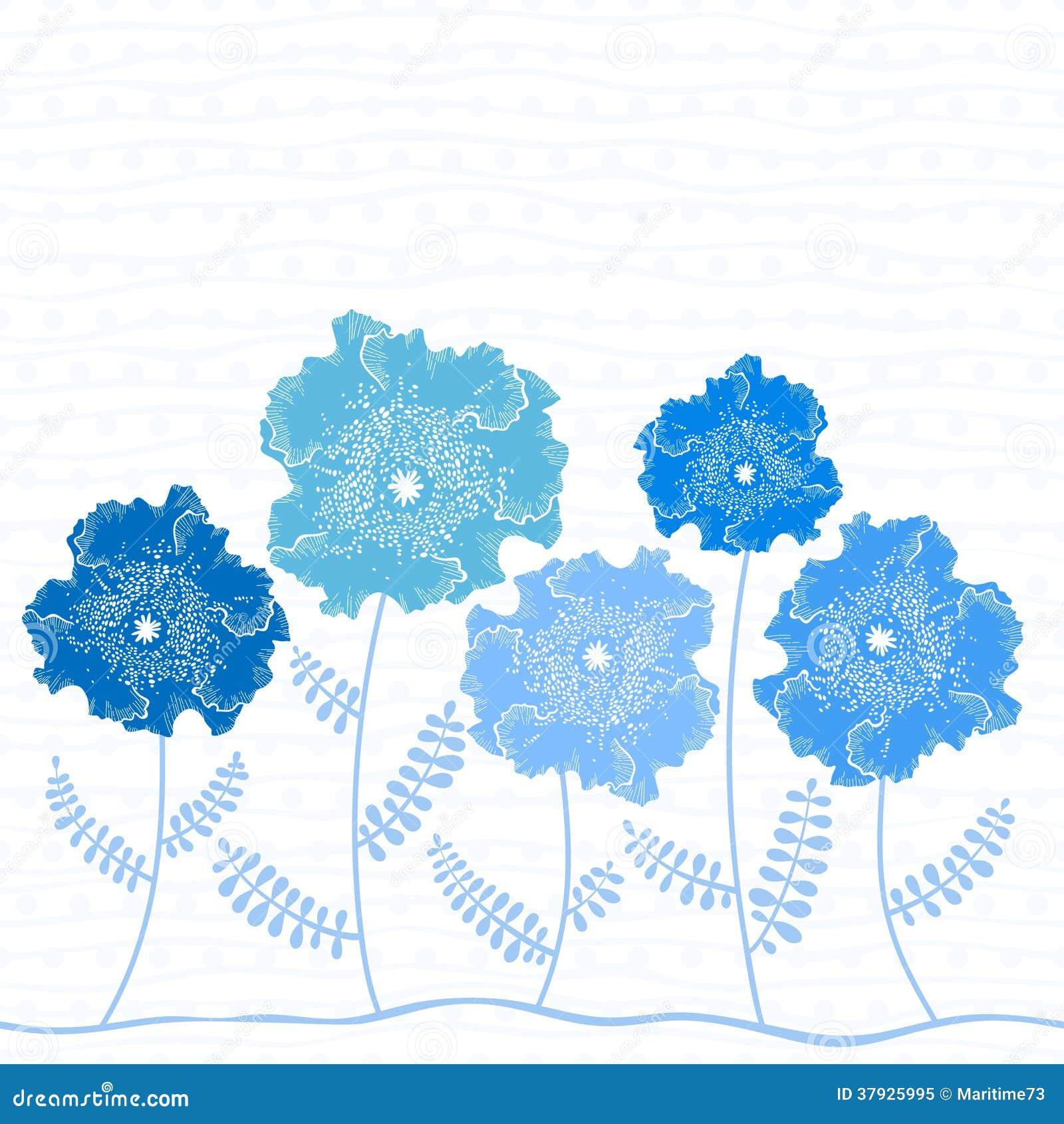 Tarjeta De La Invitacion O De Felicitacion Con Las Flores Azules
