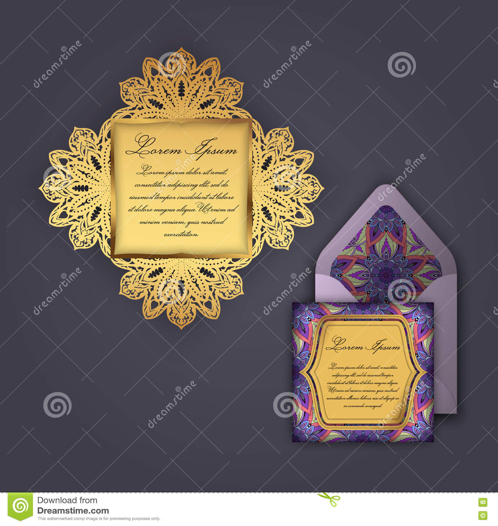 Tarjeta de la invitación o de felicitación de la boda con el ornamento floral del vintage Plantilla de papel del sobre del cordón