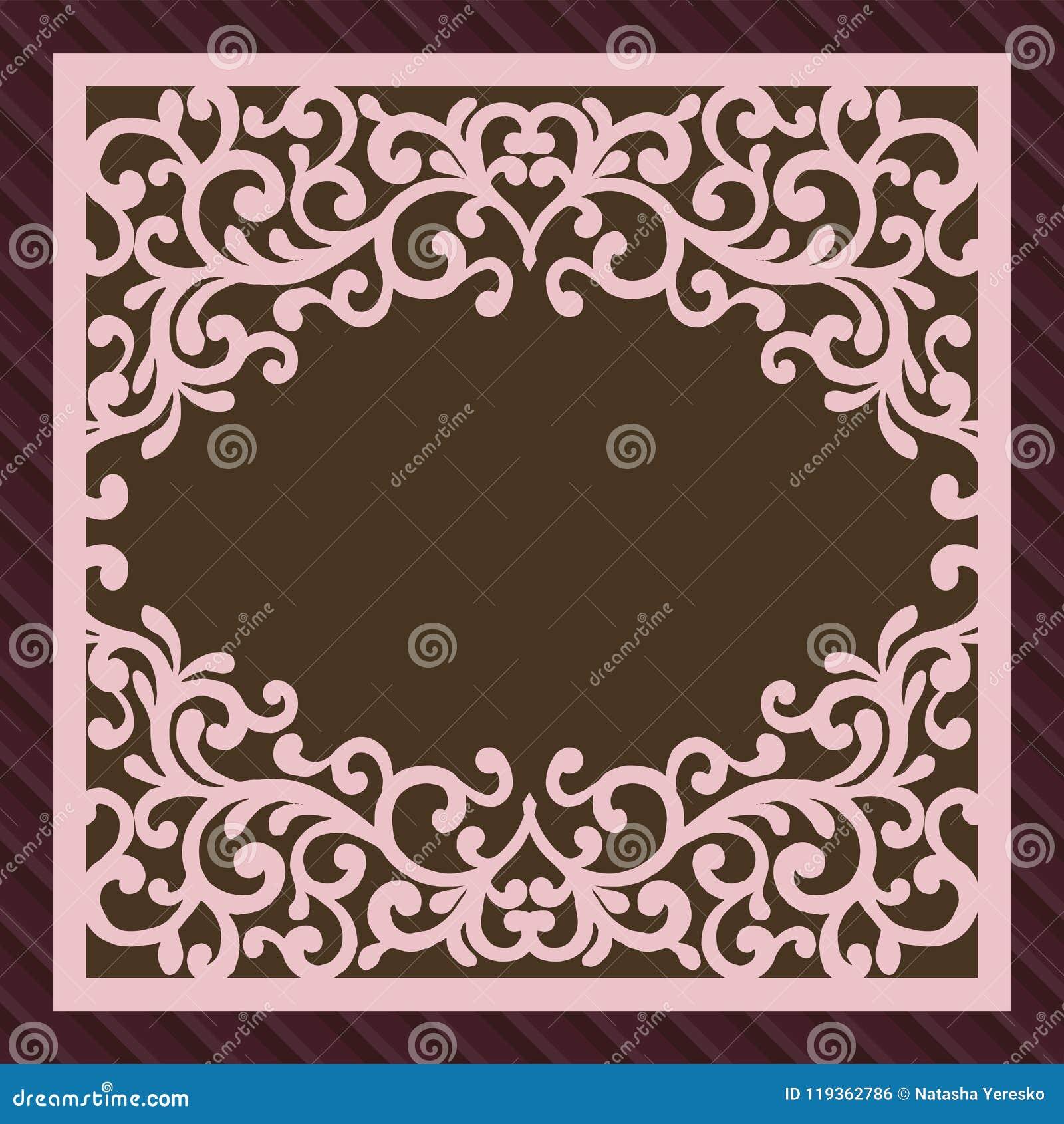 Tarjeta de la invitación o de felicitación con el ornamento de la flor Corte la plantilla del sobre del cuadrado del laser Sobre