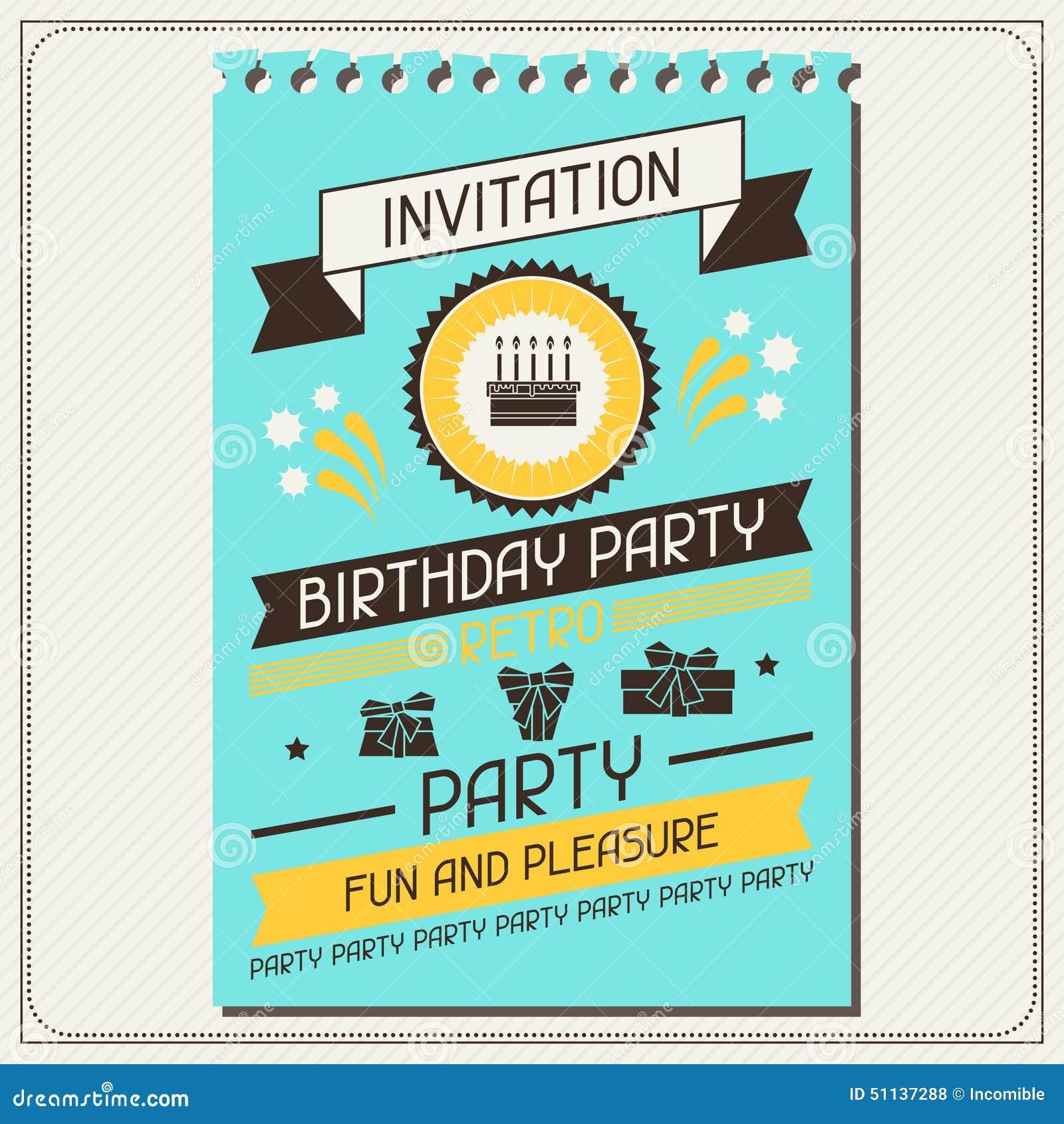 Tarjeta De La Invitación Para El Cumpleaños En Estilo Retro