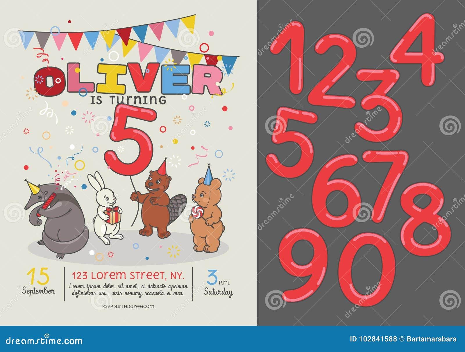 Tarjeta De La Invitación Para La Fiesta De Cumpleaños De Los