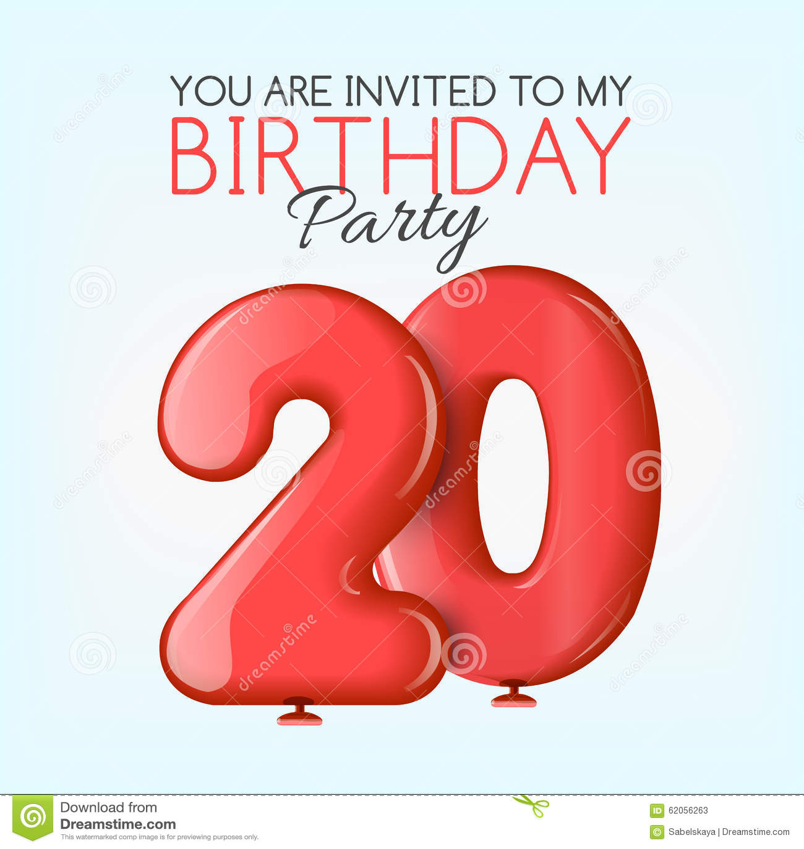 Tarjeta De La Invitación Para La Celebración De 20 Años