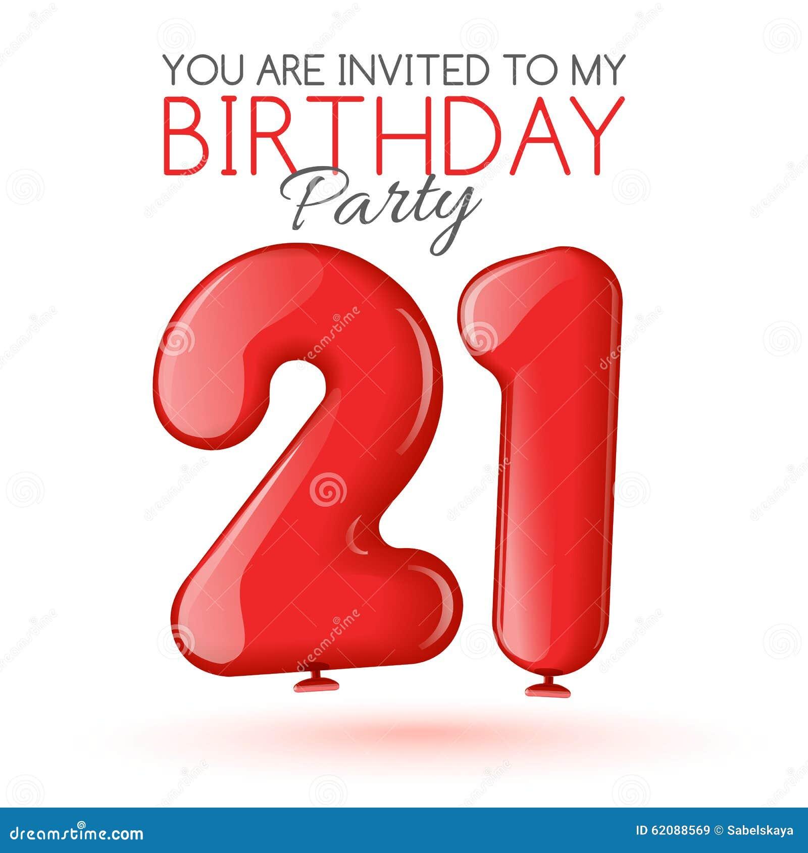 Tarjeta De La Invitación Para La Celebración De 21 Años