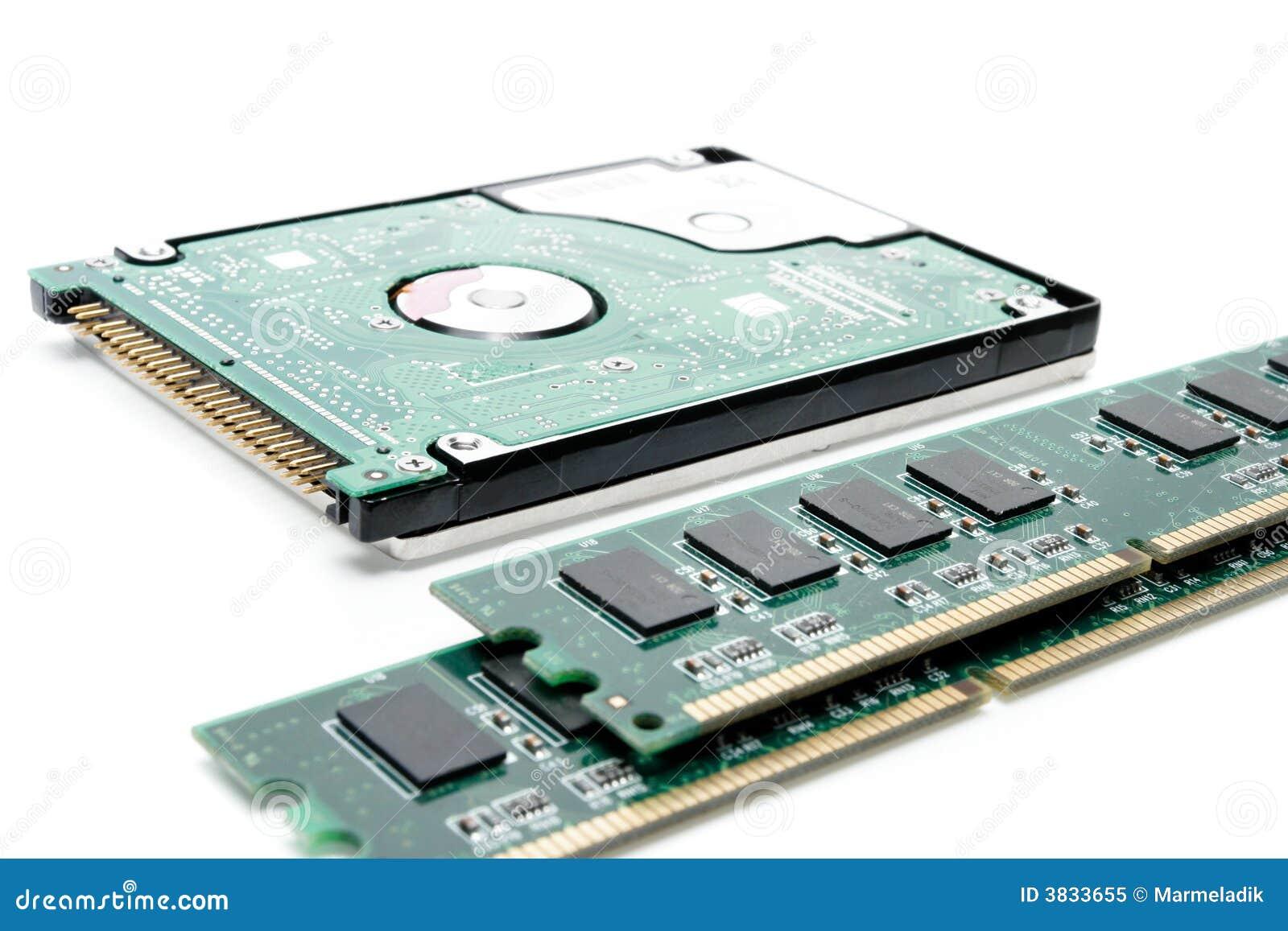 Tarjeta de la memoria RAM del ordenador del extremo del disco duro
