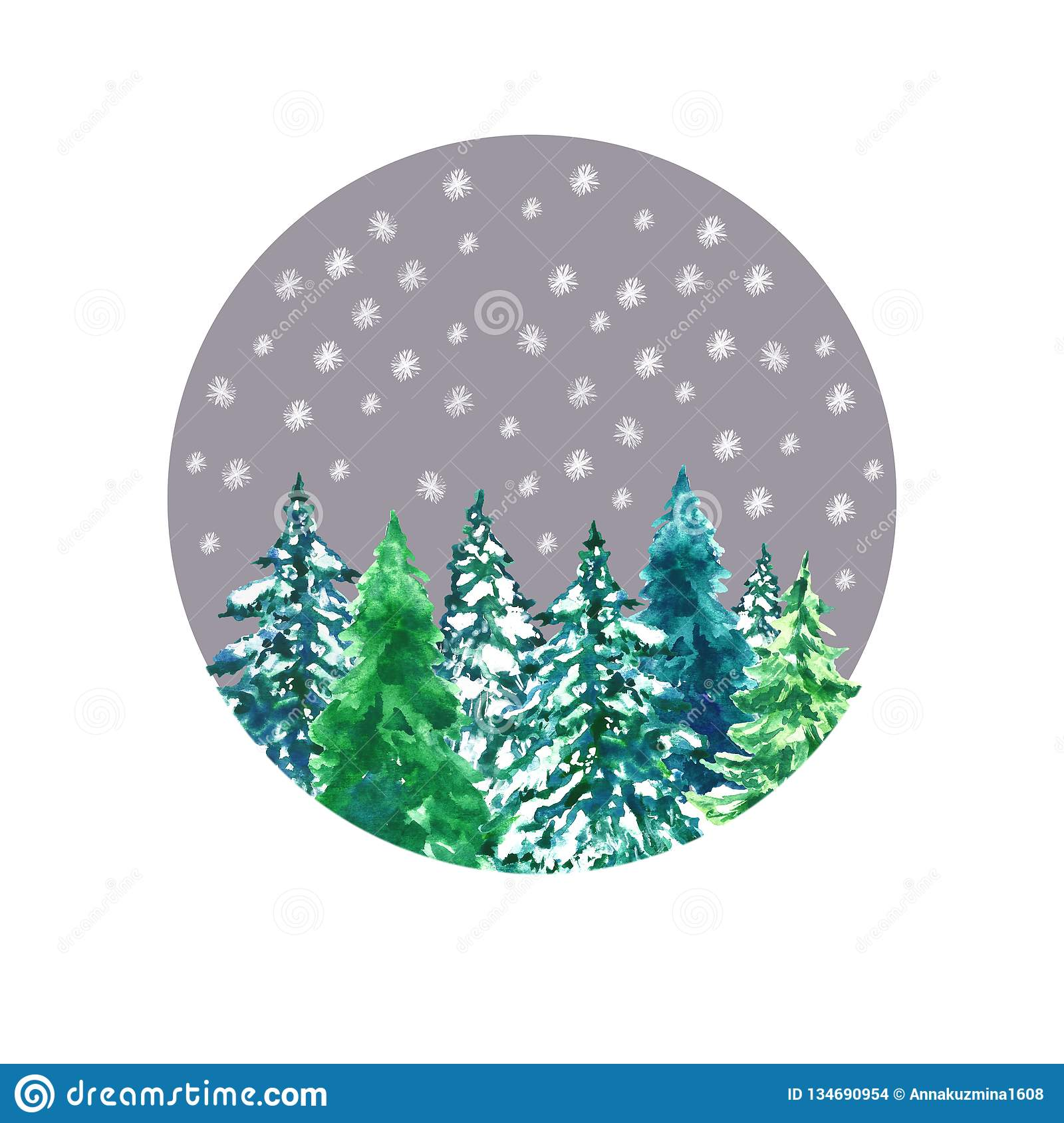 Tarjeta de la Navidad y del Año Nuevo con paisaje del bosque del invierno Árboles verdes exhaustos de la picea de la mano de la a