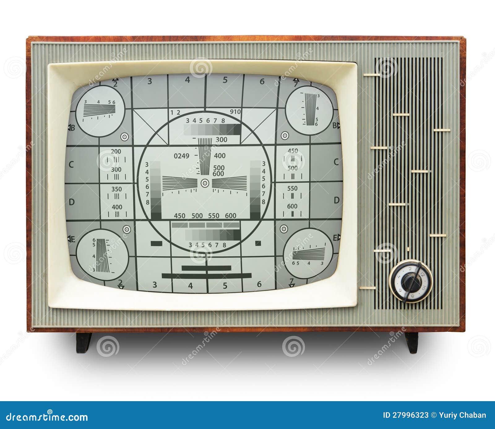 Tarjeta de la prueba de la transmisión de la TV en aparato de TV del vintage