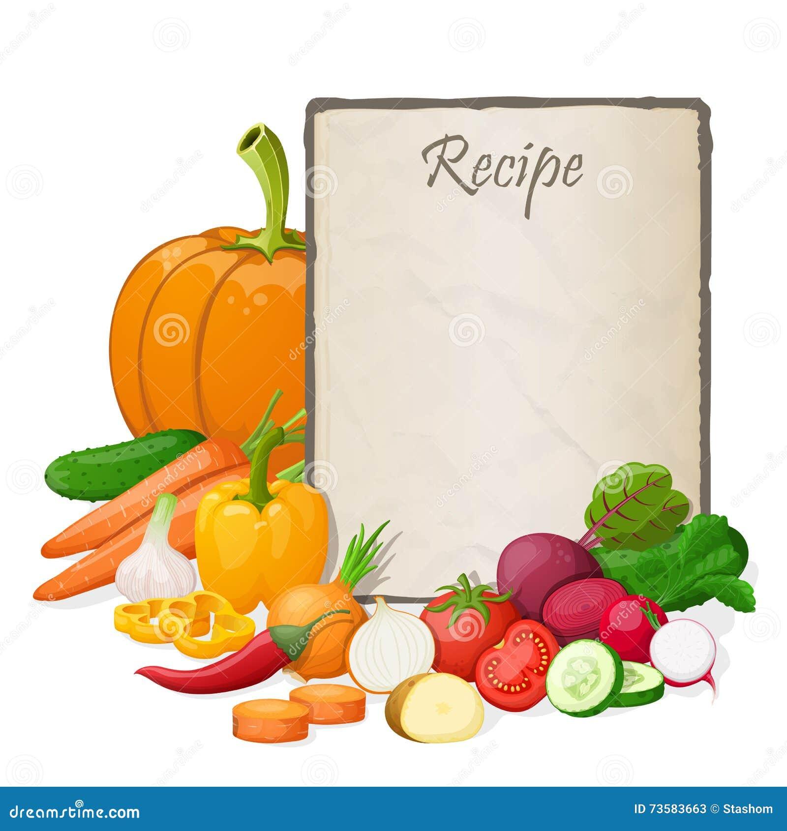 Tarjeta de la receta ejemplo del vector de la plantilla for Plantillas de cocina