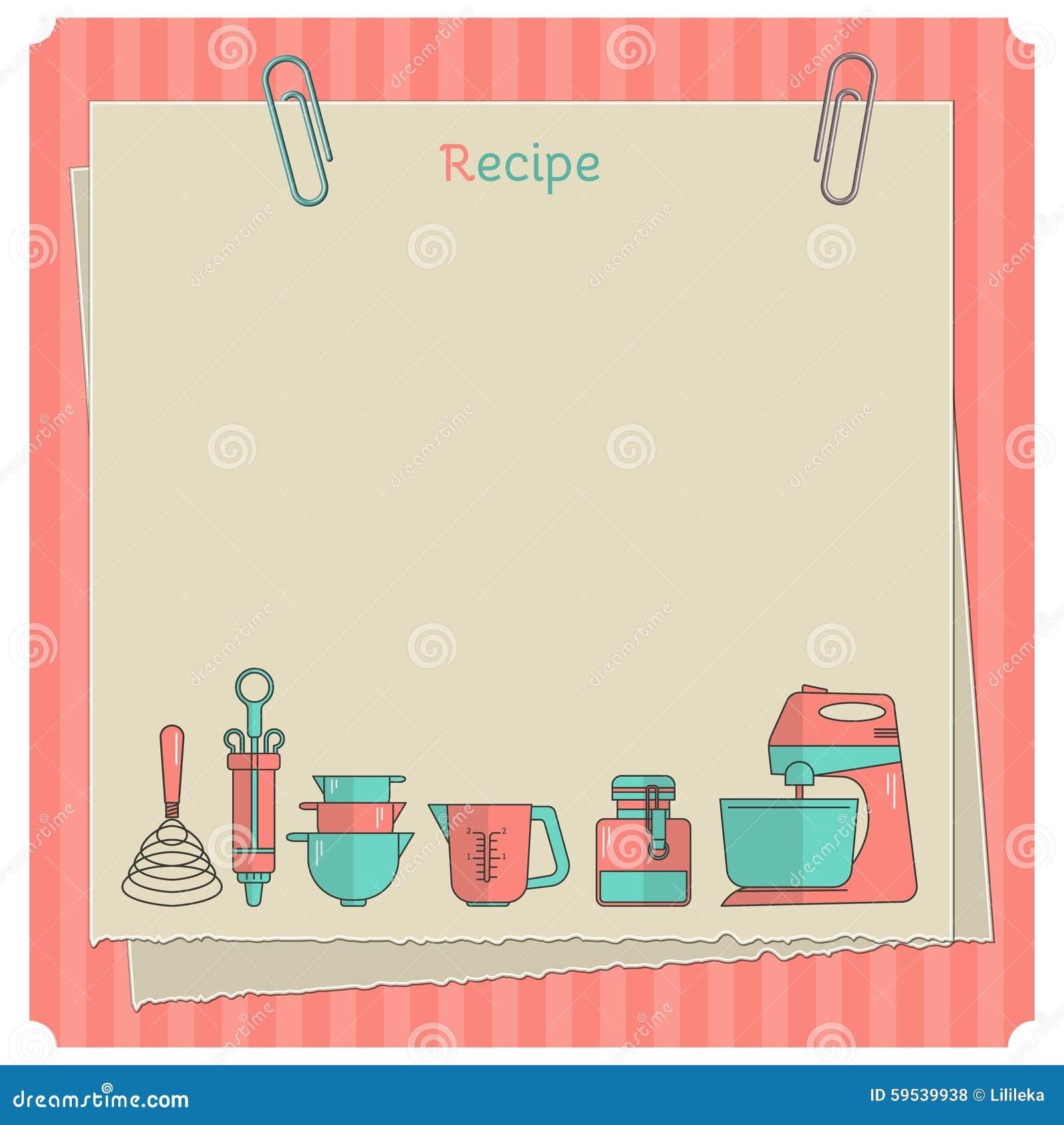 Tarjeta de la receta plantilla de la nota de la cocina - Imagenes de cocinas para imprimir ...