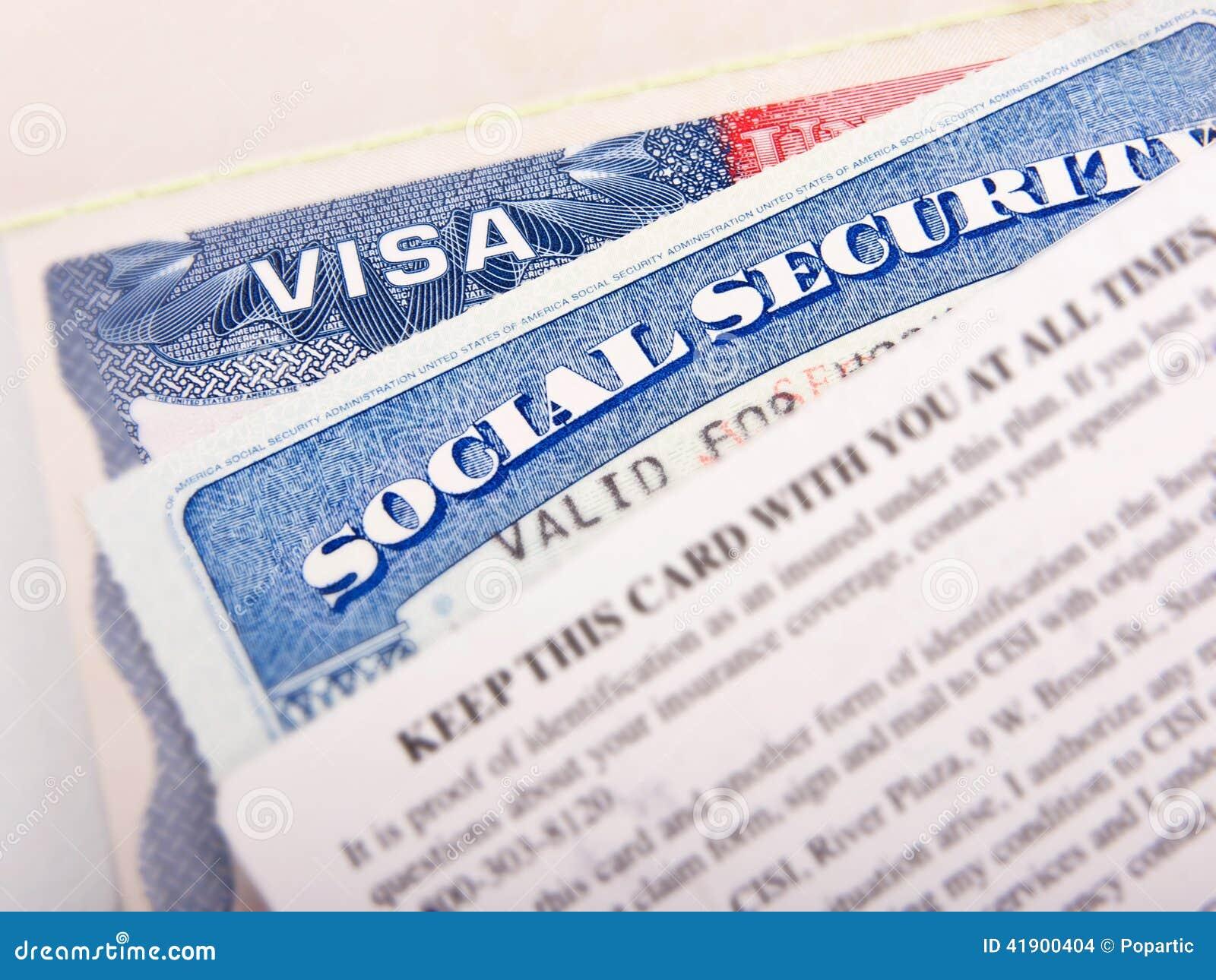Tarjeta de la visa americana y de Seguridad Social