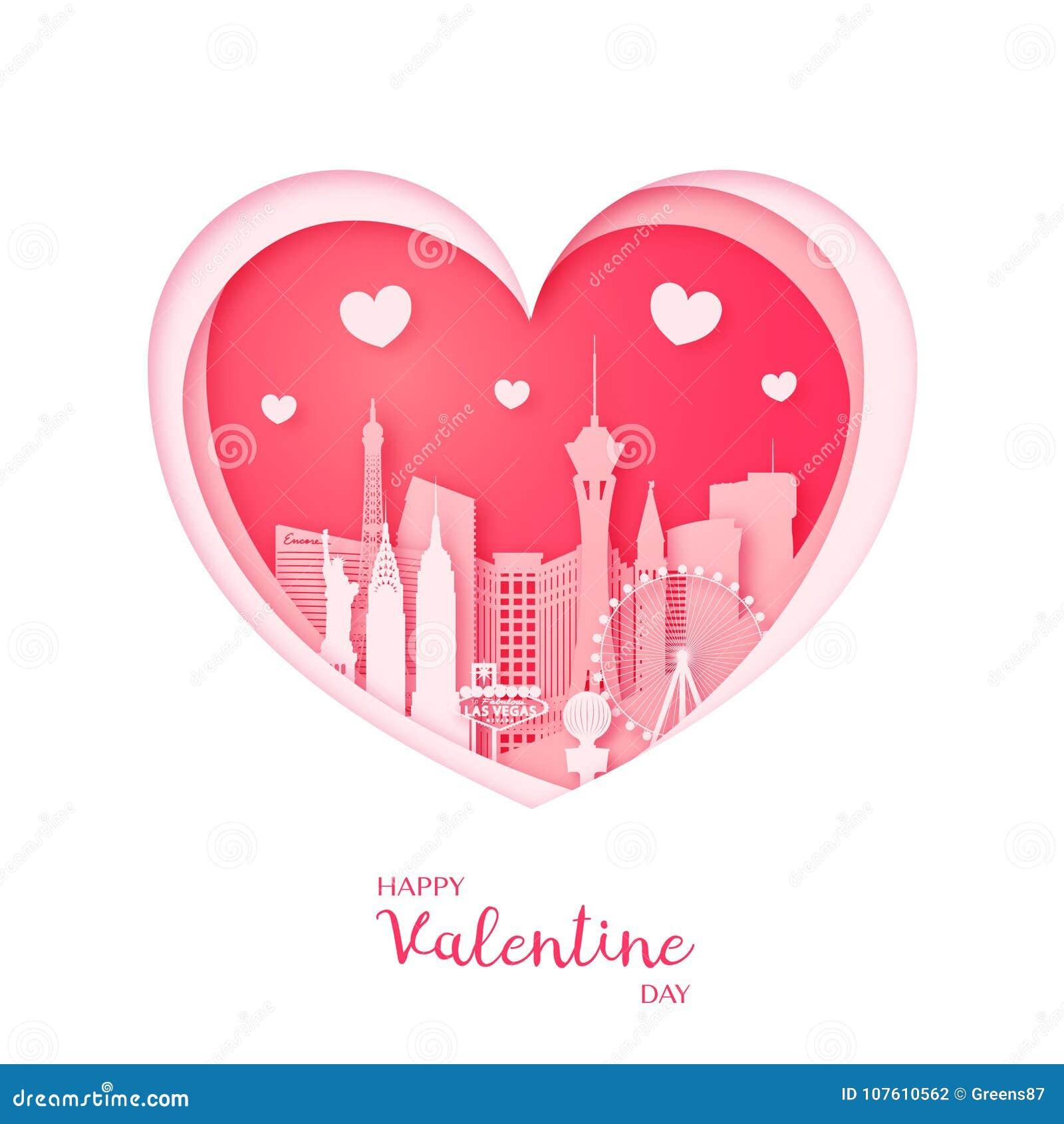 Tarjeta de las tarjetas del día de San Valentín Corazón y la ciudad Las Vegas del corte del papel