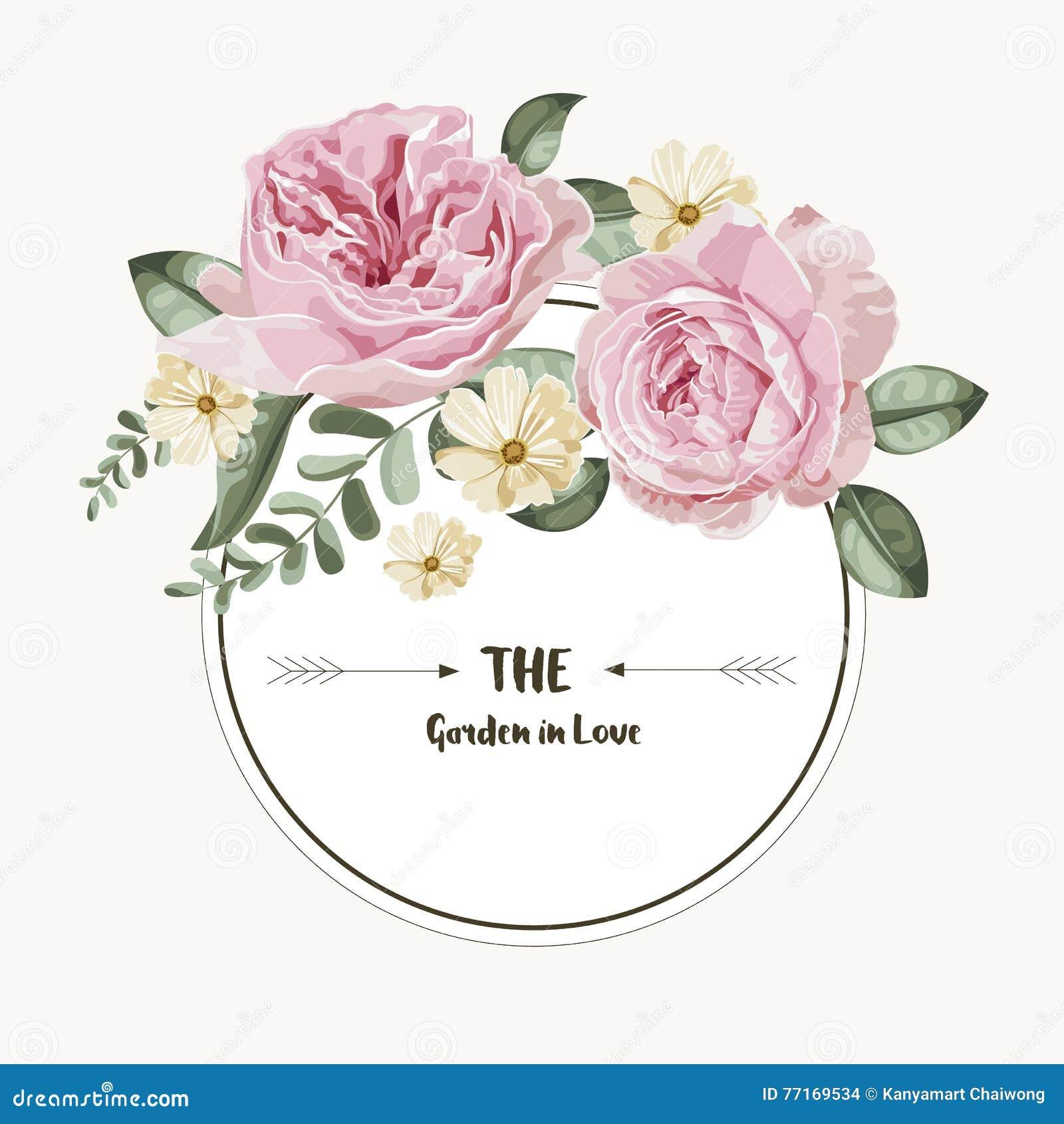 Tarjeta De Lujo Con Las Flores Del Vintage Y La Etiqueta Redonda