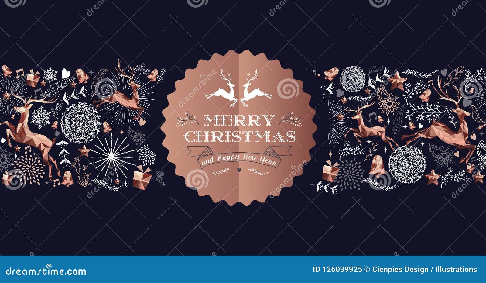 Tarjeta de lujo de la etiqueta de los ciervos del cobre de la Feliz Navidad